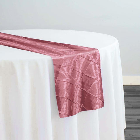 "2"" Pintuck Taffeta Table Runner in Pink Petal 007"