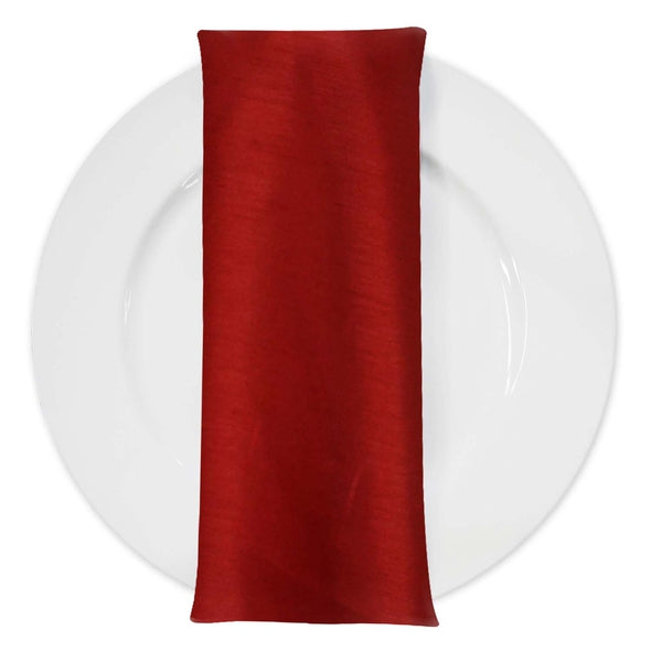 Shantung (Satin) Table Napkin in Red Dk