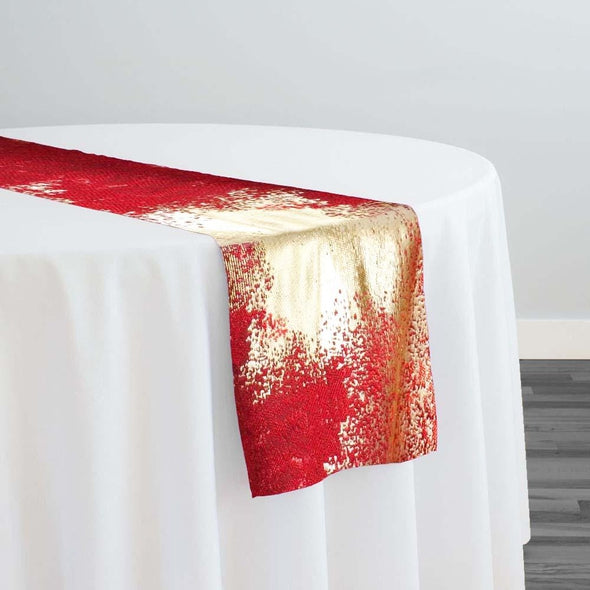 Element Jacquard Table Runner in Red and Gold