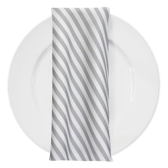 Seersucker (Poly Print) Table Napkin in Silver
