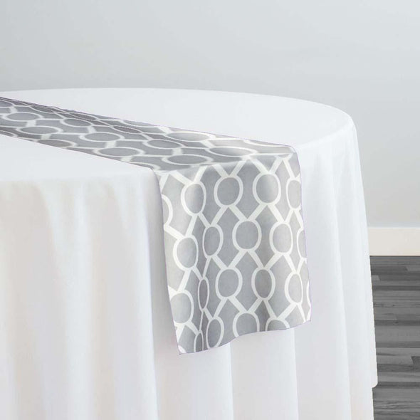 Halo Print (Lamour) Table Runner in Silver