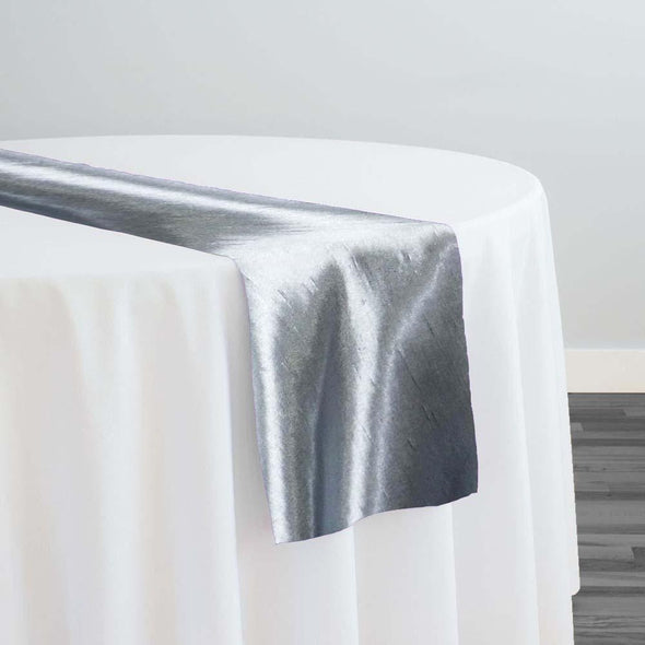 Shantung Satin Table Runner in Silver