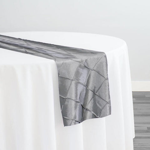 "2"" Pintuck Taffeta Table Runner in Silver 005"