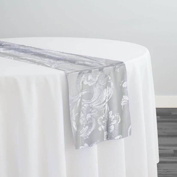 Victorian Jacquard Sheer Table Runner in Silver