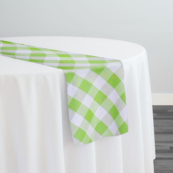 Polyester Checker (Gingham) Table Runner in Lime