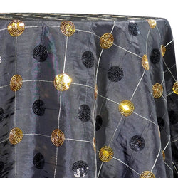 Luna Sequins Taffeta Table Linen in Gold on Black