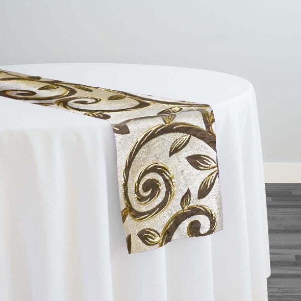 Tuscany Jacquard (Reversible) Table Runner in Brown and Taupe