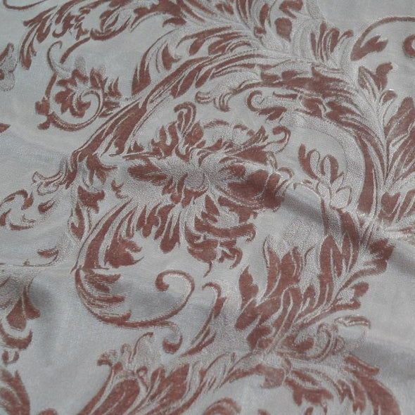 Victorian Jacquard Sheer Table Runner in Taupe
