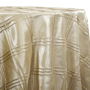 Triple Pleat Pintuck Table Linens in Taupe Gold