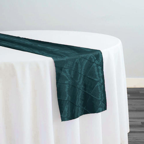 "2"" Pintuck Taffeta Table Runner in Teal 032"