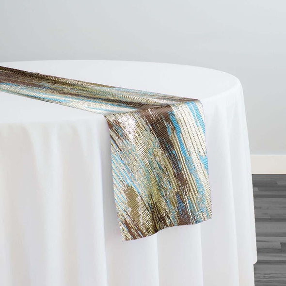 Static Jacquard Table Runner in Turquoise and Brown