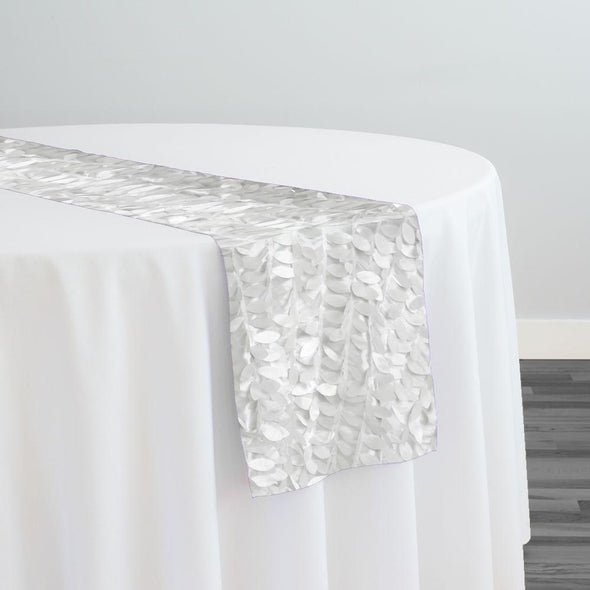 Leaf Hanging Taffeta Table Runner in White
