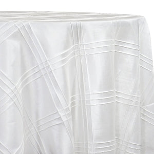 Triple Pleat Pintuck Table Linens in White
