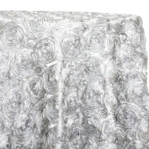 Rose Satin (3D) Table Linen in White