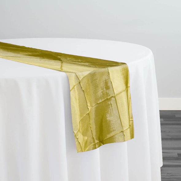 "4"" Pintuck Taffeta Table Runner in Yellow"