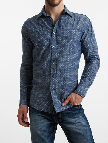 Printed Chambray Roll-Sleeve Shirt