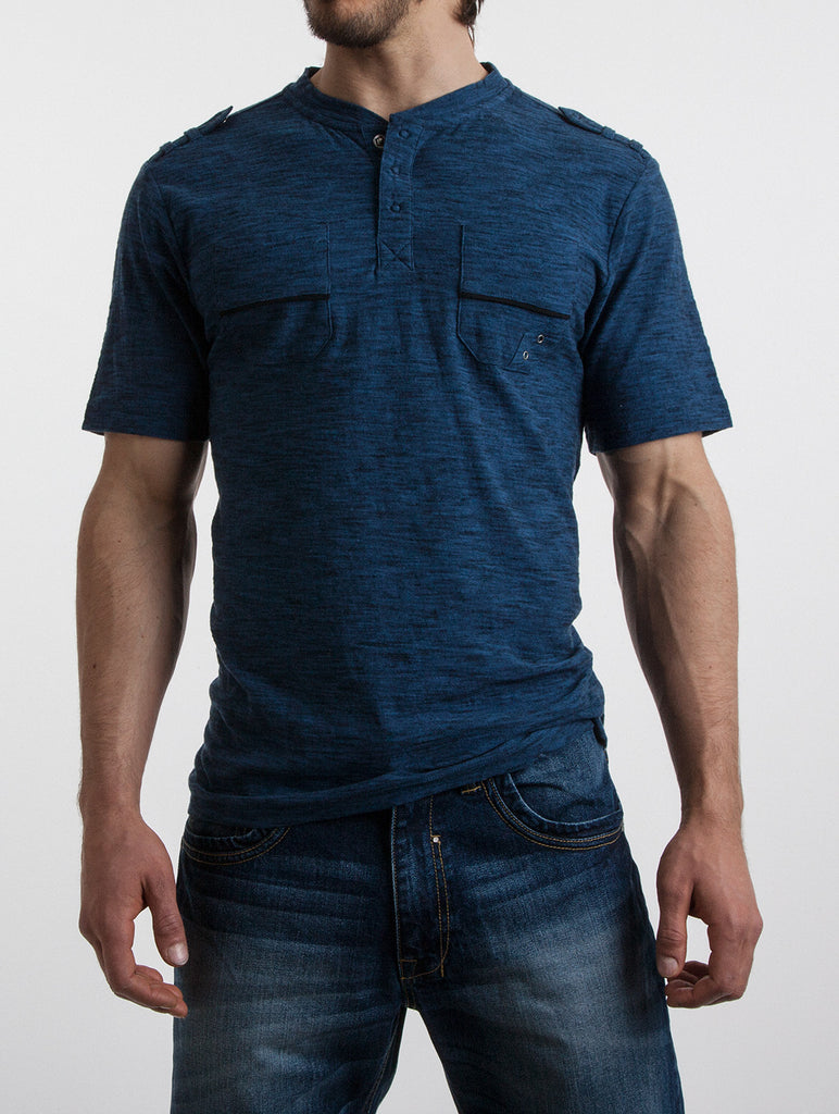 Snap Neck Pocket Henley