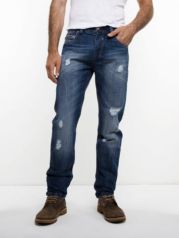 Distressed Zipper Jean