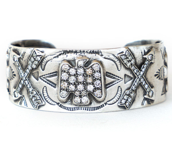 Sterling Silver and Diamond  Native American Motif
