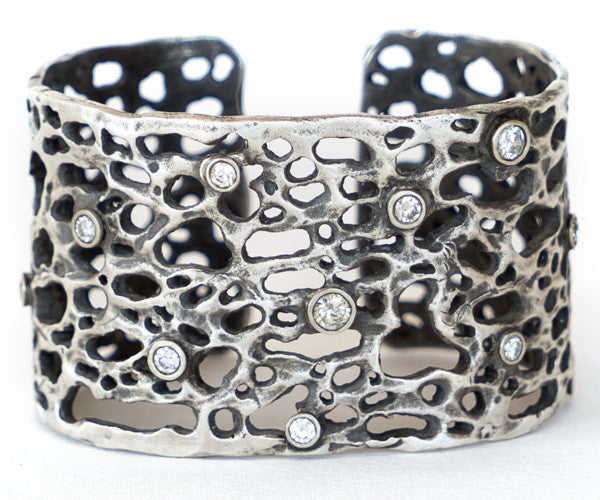 Sterling Silver and Diamond Cuff