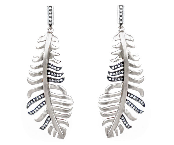 Sterling Silver and Diamond Feather Earrings