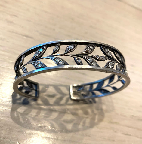 Sterling Silver Vine Cuff with Diamonds