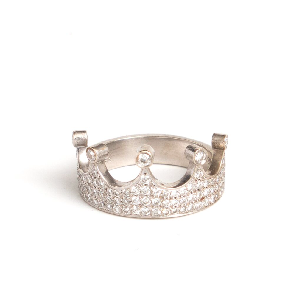 18K White Gold Crown Ring with Diamonds