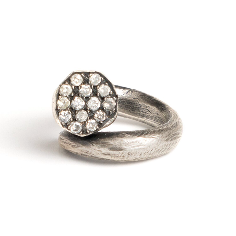 Sterling Silver Nail Ring with Diamonds