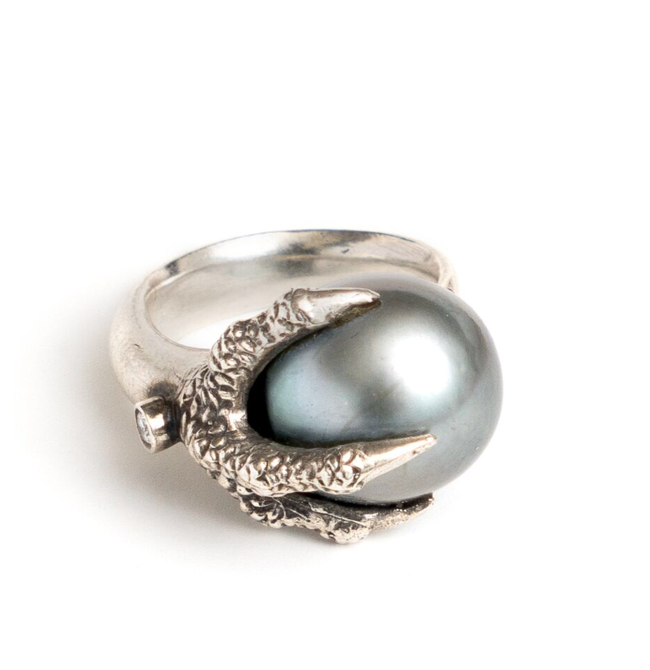 Sterling Silver Claw Ring with Tahitian Pearl and Diamonds