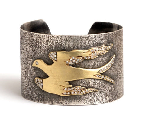 18 Karat Yellow Gold And Sterling Silver Bird Cuff With Diamonds