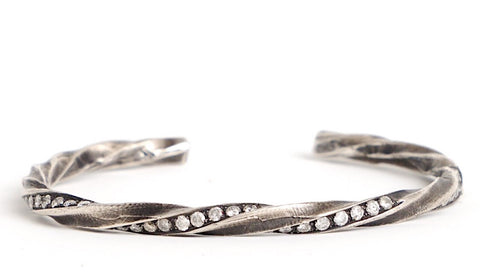 Sterling Silver Open Bangle with Diamonds