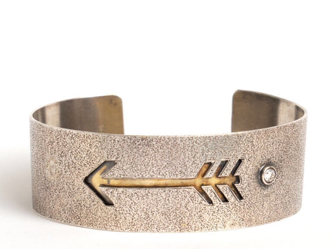 Sterling Silver Arrow Cuff with 18 Karat Yellow Gold and Diamond