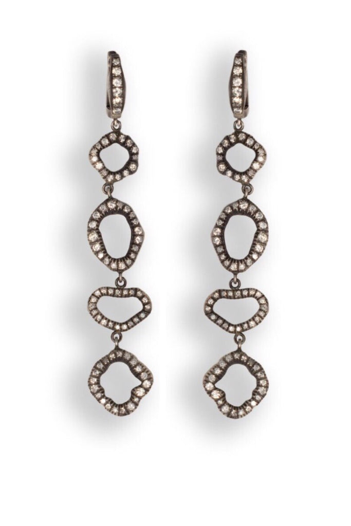 Sterling Silver Earrings with Pave Diamonds
