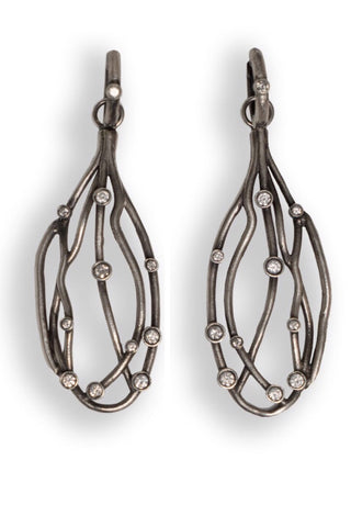 Sterling Silver Earrings with Diamonds