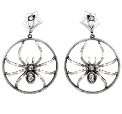 Sterling Silver and Diamond  Hoops with Removable Spiders