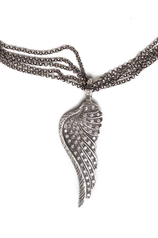 Sterling Silver Angel Wing Necklace with Diamonds