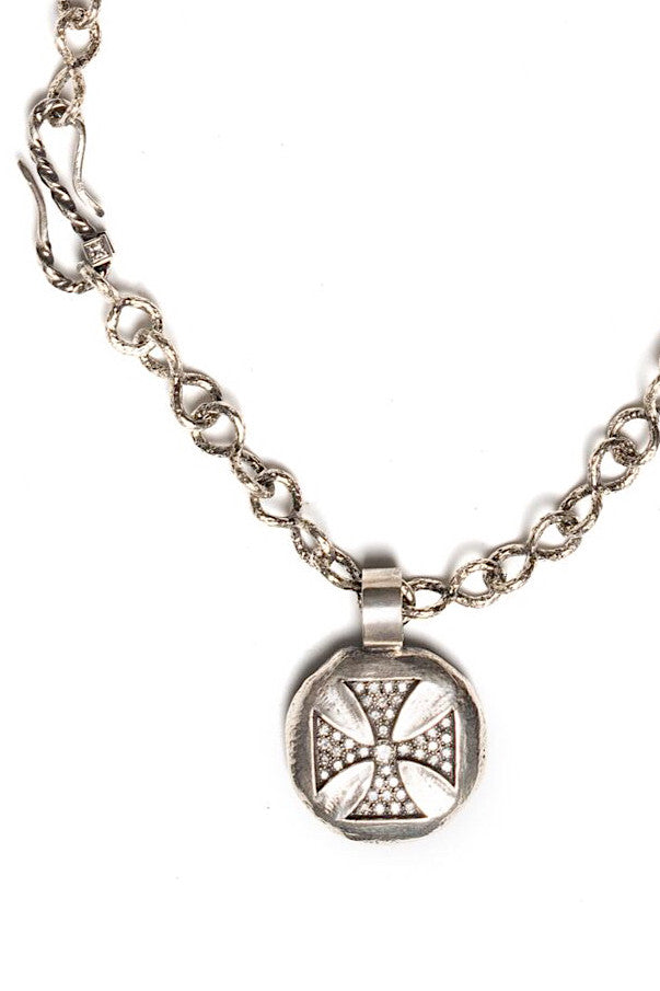 Sterling Silver Necklace with Maltese Cross Pendant and Diamonds