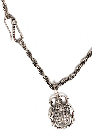 Sterling Silver Scarab Necklace with Diamonds