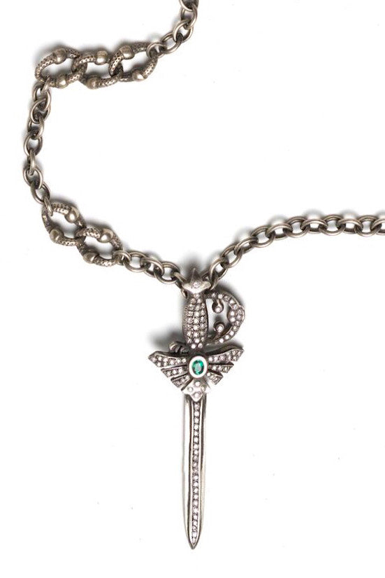 Sterling silver sword necklace with emerald and diamonds sterling silver sword necklace with emerald and diamonds aloadofball Images