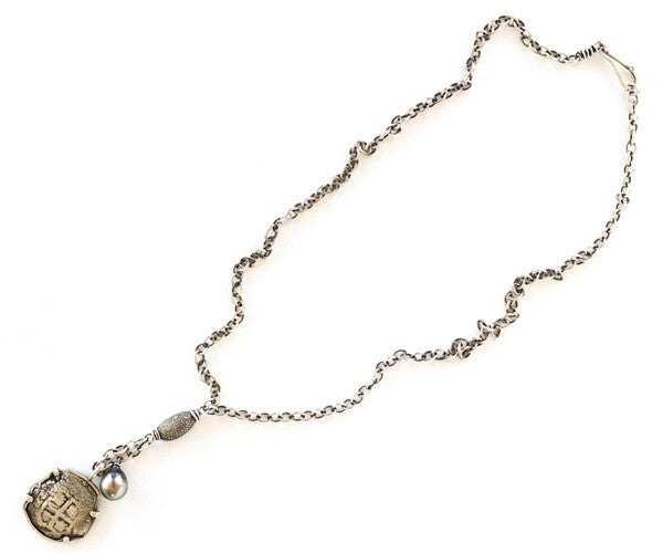 Diamond, Pearl and Sterling Silver Antique Coin Necklace