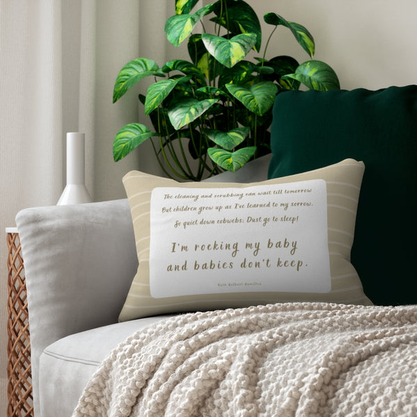 'Babies Don't Keep' Quote Pillow (Lines)