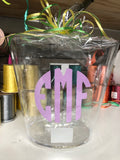 Monogrammed Acrylic Trash Cans