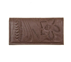 Leaders In Leather Tooled Checkbook Wallet