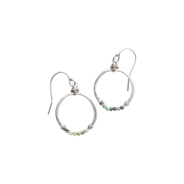 Turquoise Horseshoe Earrings in Sterling Silver