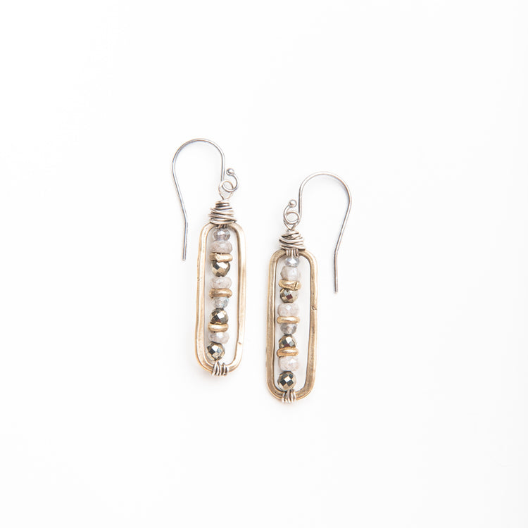 Gris Gemstone Bar Earrings