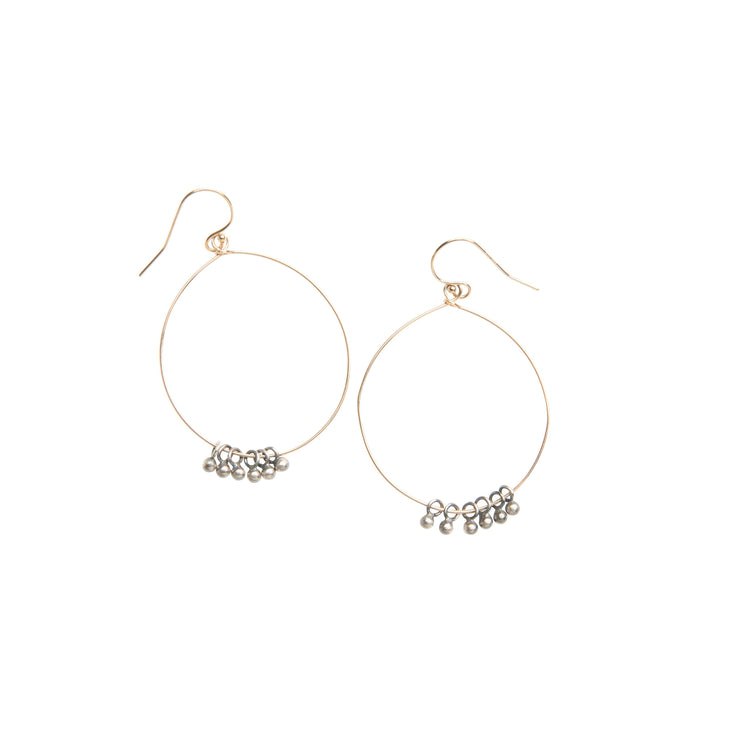 Mixed metal gold and silver hoop earrings