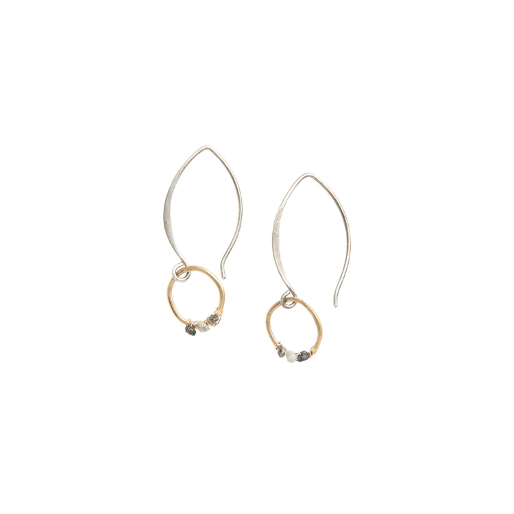 Mini Round Raw Diamond Drop Earrings