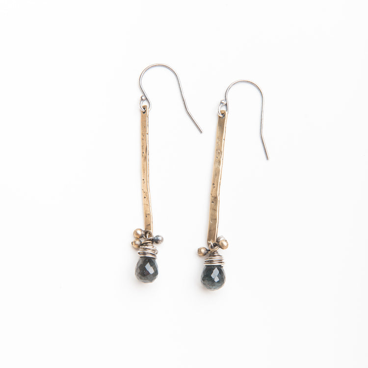 Moss Aquamarine Drop Stick Earrings in Yellow Bronze