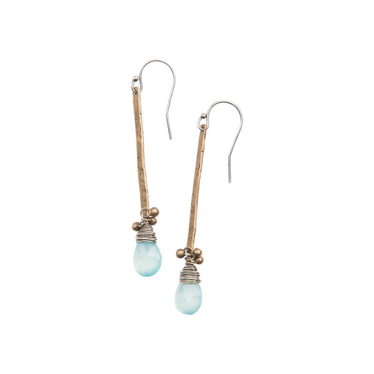 Gemstone Stick Earrings in Yellow Bronze