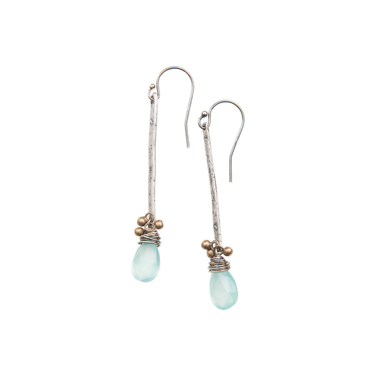 Aqua Chalcedony Drop Stick Earrings in Sterling Silver